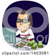 Clipart Of A Brunette White Male Thief With Cash And Credit Cards Making Purchases On A Laptop Computer Royalty Free Vector Illustration