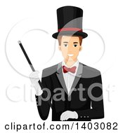 Clipart Of A Brunette White Male Magician In A Top Hat And Suit Holding A Wand Royalty Free Vector Illustration