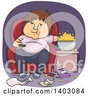 Cartoon Fat White Man Eating Popcorn In A Messy Living Room And Watching Tv