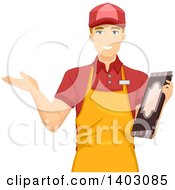 Clipart Of A Blond White Male Waiter Holding A Menu And Welcoming Customers Royalty Free Vector Illustration by BNP Design Studio