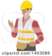Clipart Of A Happy Black Male Warehouse Worker Gesturing Royalty Free Vector Illustration by BNP Design Studio