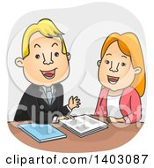 Clipart Of A Cartoon White Sales Man Pitching To A Woman Royalty Free Vector Illustration