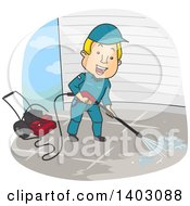 Clipart Of A Cartoon Blond White Man Pressure Washing Royalty Free Vector Illustration