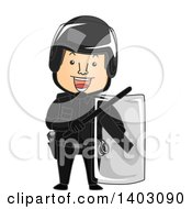 Clipart Of A Cartoon Riot Officer In Full Gear Royalty Free Vector Illustration