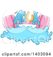 Clipart Of A Pink Barbell And Aqua Text With A Splash Royalty Free Vector Illustration
