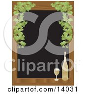 Poster, Art Print Of Full Glass Of White Wine Sitting On A Wooden Window Sill Framed By Green Grapes Over A Black Background