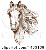 Clipart Of A Brown Sketched Horse Head Royalty Free Vector Illustration