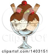 Clipart Of A Sketched Ice Cream Sundae Royalty Free Vector Illustration by Vector Tradition SM