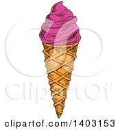 Clipart Of A Sketched Waffle Ice Cream Cone Royalty Free Vector Illustration by Vector Tradition SM