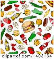 Clipart Of A Seamless Background Pattern Of Cheeseburgers And Toppings Royalty Free Vector Illustration by Vector Tradition SM