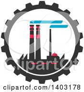 Clipart Of A Flat Design Factory Complex In A Gear Cog Wheel Royalty Free Vector Illustration by Vector Tradition SM