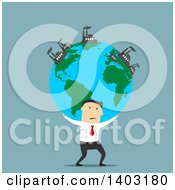 Clipart Of A Flat Design White Businessman Carrying Earth With Industrial Factories On Blue Royalty Free Vector Illustration by Vector Tradition SM