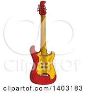 Clipart Of A Sketched Electric Guitar Royalty Free Vector Illustration by Vector Tradition SM