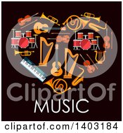 Clipart Of A Heart Made Of Instruments With Text On Black Royalty Free Vector Illustration