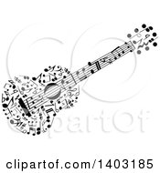 Clipart Of A Black And White Guitar Made Of Music Notes Royalty Free Vector Illustration by Vector Tradition SM