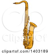 Clipart Of A Sketched Saxophone Royalty Free Vector Illustration by Vector Tradition SM