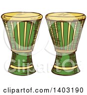 Clipart Of Sketched Djembe Goblet Drums Royalty Free Vector Illustration by Vector Tradition SM