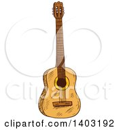 Clipart Of A Sketched Acoustic Guitar Royalty Free Vector Illustration by Seamartini Graphics