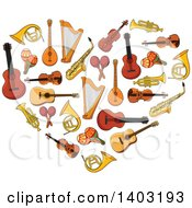 Clipart Of A Heart Made Of Instruments Royalty Free Vector Illustration by Seamartini Graphics