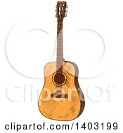 Clipart Of A Sketched Acoustic Guitar Royalty Free Vector Illustration by Vector Tradition SM