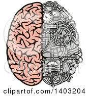Clipart Of A Half Human Half Data Processing Center Brain Royalty Free Vector Illustration