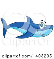 Clipart Of A Cartoon Happy Blue Shark Royalty Free Vector Illustration