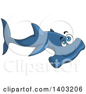 Clipart Of A Cartoon Happy Blue Hammerhead Shark Royalty Free Vector Illustration