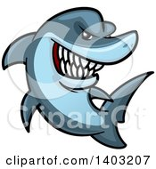 Clipart Of A Cartoon Tough Blue Shark Royalty Free Vector Illustration