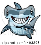 Clipart Of A Cartoon Tough Blue Hammerhead Shark Royalty Free Vector Illustration