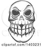 Poster, Art Print Of Sketched Gray Monster Skull