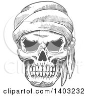 Clipart Of A Sketched Grayscale Pirate Skull Wearing A Bandana Royalty Free Vector Illustration