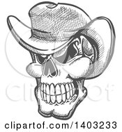 Sketched Gray Human Skull Wearing A Cowboy Hat