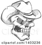 Poster, Art Print Of Sketched Gray Human Skull Wearing A Cowboy Hat