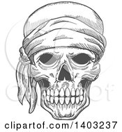 Clipart Of A Sketched Gray Human Pirate Skull With A Bandana Royalty Free Vector Illustration