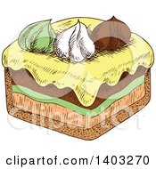 Clipart Of A Sketched Slice Of Cake Royalty Free Vector Illustration