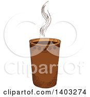 Clipart Of A Sketched Hot Coffee Royalty Free Vector Illustration