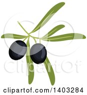 Clipart Of A Branch With Black Olives And Leaves Royalty Free Vector Illustration