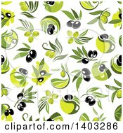 Clipart Of A Seamless Background Pattern Of Olives Royalty Free Vector Illustration by Vector Tradition SM