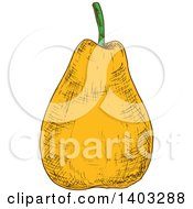 Clipart Of A Sketched Pear Royalty Free Vector Illustration by Vector Tradition SM
