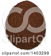 Clipart Of A Sketched Coconut Royalty Free Vector Illustration by Vector Tradition SM