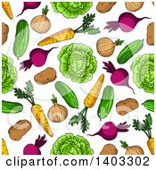 Clipart Of A Seamless Background Pattern Of Vegetables Royalty Free Vector Illustration