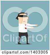 Clipart Of A Flat Design White Businessman Walking Blindfolded On Blue Royalty Free Vector Illustration by Vector Tradition SM