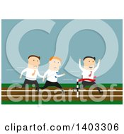 Flat Design White Businessman Winning A Race On Blue