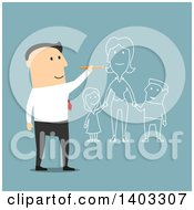 Clipart Of A Flat Design White Businessman Dreaming Of Having A Family On Blue Royalty Free Vector Illustration by Vector Tradition SM
