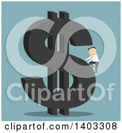 Clipart Of A Flat Design White Businessman Climbing A Dollar Currency Symbol On Blue Royalty Free Vector Illustration