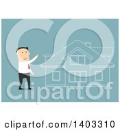 Clipart Of A Flat Design White Businessman Dreaming Of Buying A House On Blue Royalty Free Vector Illustration by Seamartini Graphics