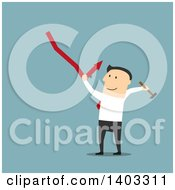 Clipart Of A Flat Design White Businessman Trying To Fix A Decline On Blue Royalty Free Vector Illustration by Vector Tradition SM