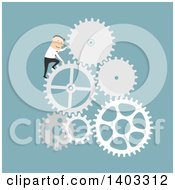 Clipart Of A Flat Design White Businessman Climbing Gears On Blue Royalty Free Vector Illustration