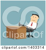 Clipart Of A Flat Design White Businessman With His Feet Up On His Desk On Blue Royalty Free Vector Illustration