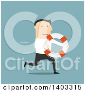 Clipart Of A Flat Design White Businessman Running With A Life Buoy On Blue Royalty Free Vector Illustration